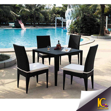 Hot sale plastic dining table and chair classic italian dining room sets rattan furniture