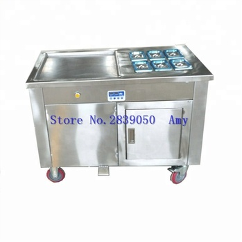 Double round pan roll flat pan fry fried ice cream machine with stainless steel