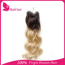 Hot selling brazilian micro ring loop Hair extension Two tone ombre color ombre 100% Brazilian Virgin human hair extensions