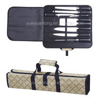Exclusive Line 9pcs stainless steel rubber knife set with sharpener in roll bag