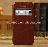 Hot Selling Leather Flip Case for iPhone 5C with Window Design