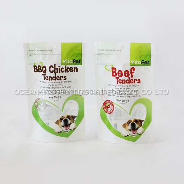 eco - friendly strong sealing printed plastic dog food stand up bag with FDA certificate