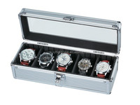 small aluminum watch display case