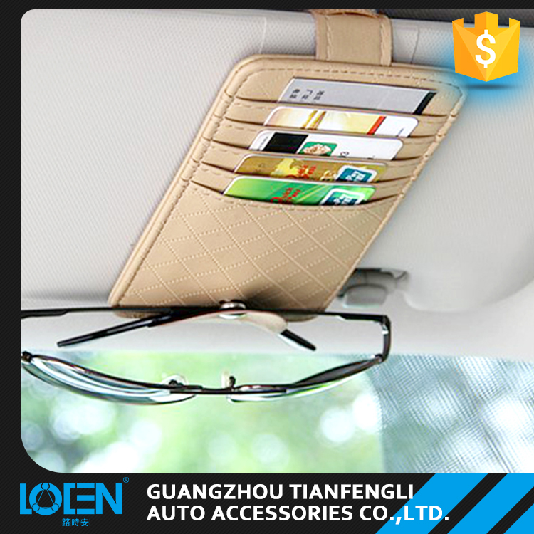 Wholesale cheap colorful 15CM*8.8CM leather auto car sun visor organizer