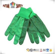 FTSAFETY 100% NATURE WHITE Cotton CANVAS glove with black pvc dots for safety working