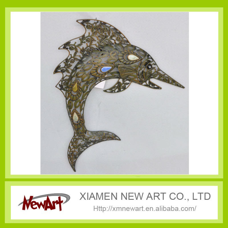 Antique color metal fish for home decoration and wall decor fish metal wall art