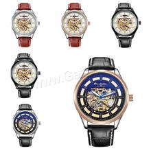 Wholesale zinc alloy dial orkina watches men luxury watch chinese movt with pu leather watch band mens wrist watches