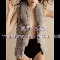 BG21919 Genuine natural sheared Rabbit Fur knitted Waistcoat with Fox Fur Collar OEM Wholesale Retail rabbit fur Vest