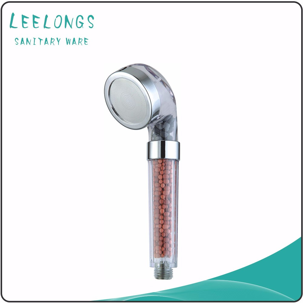 Yuyao manufacture PC ECO anion ball water filter shower head with stainless steel face