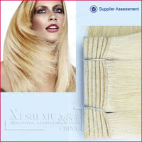 60# light blonde color remy Indian hair weaving