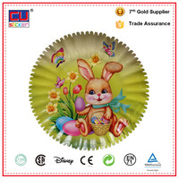 Cute rabbit custom printed disposable paper plate for easer decoration