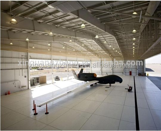 large span steel prefabricated metal airplane hangar building