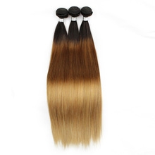 Dropshipping top quality 3 tone hair bundle 4/30/27 ombre hair weft silky straight blonde virgin Brazilian human hair extension