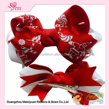 "4"" red white Christmas ribbon hair bows for kids"