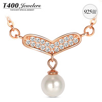 T400 wings of hope pearl 925 sterling silver cubic zirconia fashion necklace