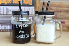 Personalized mason jars with straws with customer logo