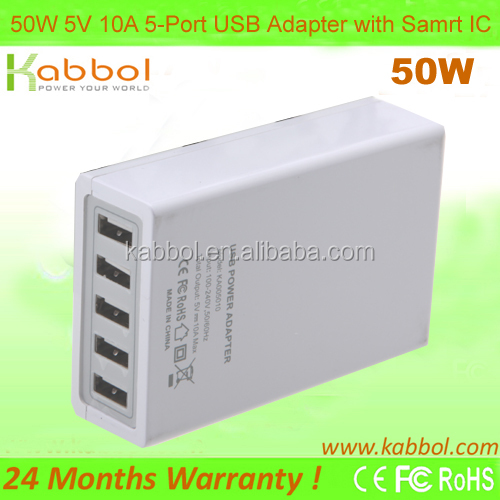 50W 5V 10A 5-port USB Charging Station for iPhone 5s, 5c, 5, 4s, 4; iPad 5, Air, Mini; iPod Touch, Nano; Samsung Galaxy Tabs,