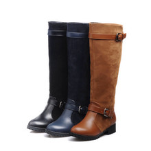 new design 2017 fashion wholesale women autumn winter knee high chunky heeled buckle strap pu leather knight boot