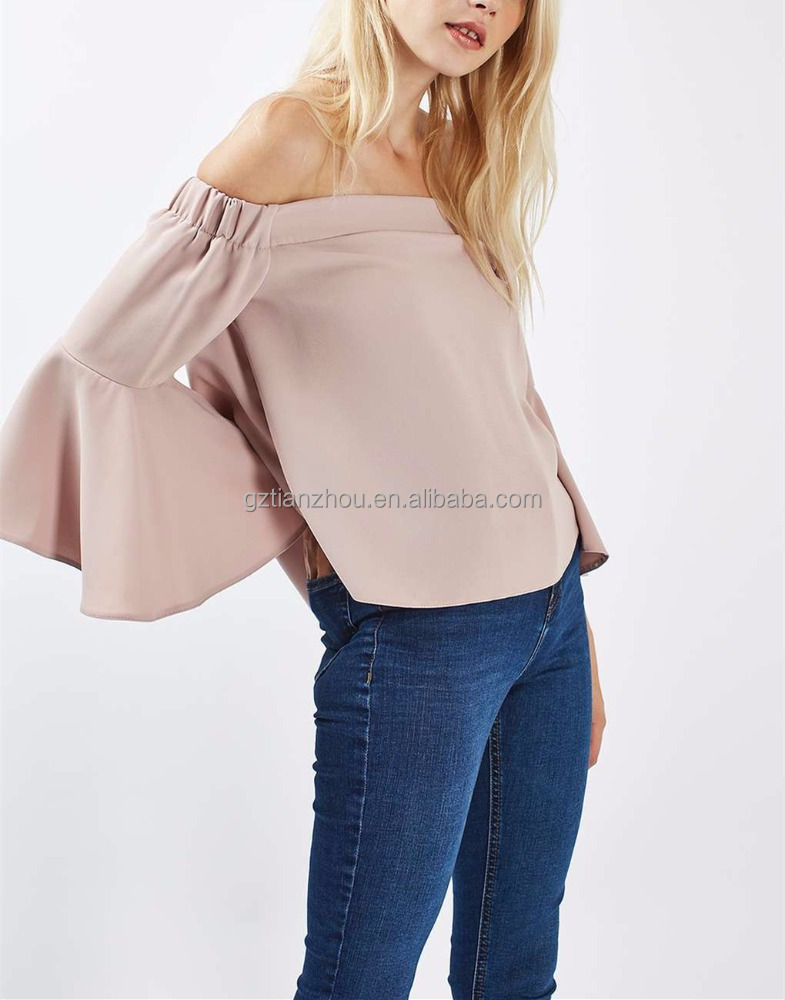 High Fashion Clothing Off the shoulder Top Flute Sleeve Top Women Clothing Women Wear