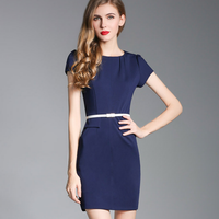 high quality anti-wrinkle simple hotel blank bodycon sexy o-neck short sleeve ladies office dress