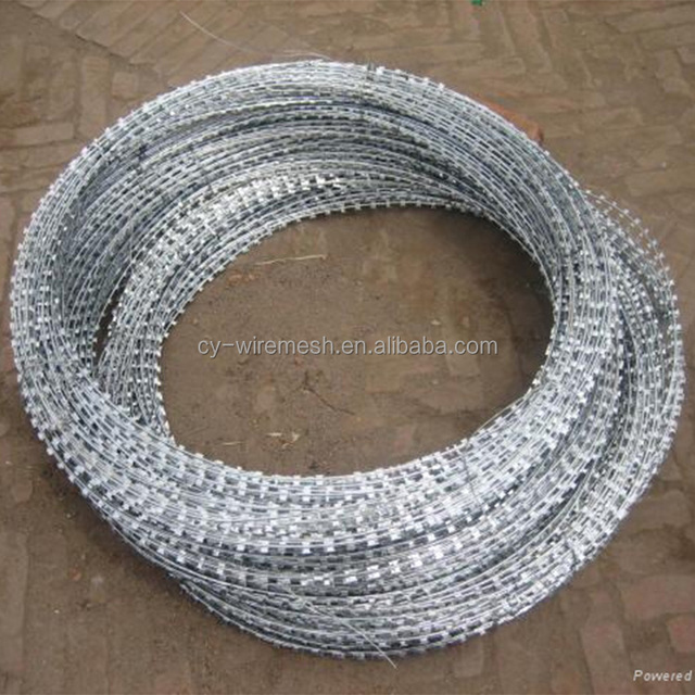 Professional factory supply BTO 22 galvanized dual concertina razor wire with barbed wire