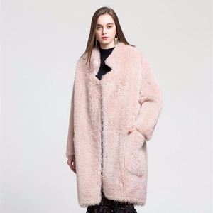 2018 Women Fashion clothes real sheep wool fur coat plus size