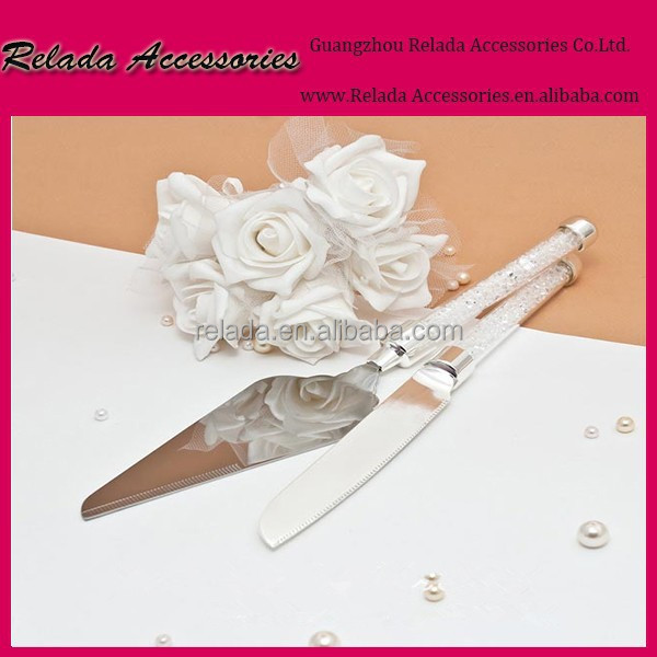 Wedding Cake tools crystal wedding cake server set Stainless Steel Wedding Party Cake Knife and Server Set in clear stone handle