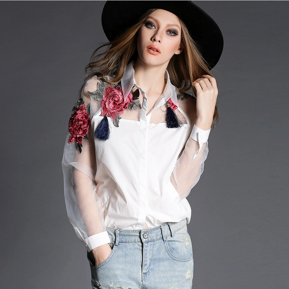 W70672G latest ladies blouses designs embroidered shirt lapel top fashion blouses 2015