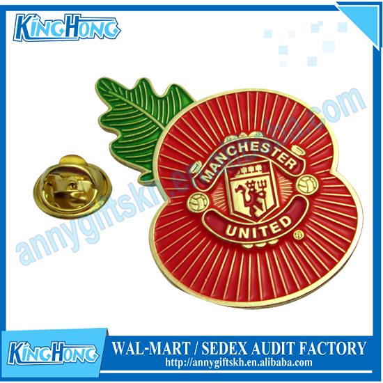 Free Shipping <strong>Metal</strong> Man U Poppy Pin Badge