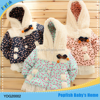 Winter season baby clothes beautiful hooded lace girls lammy thick baby winter coat