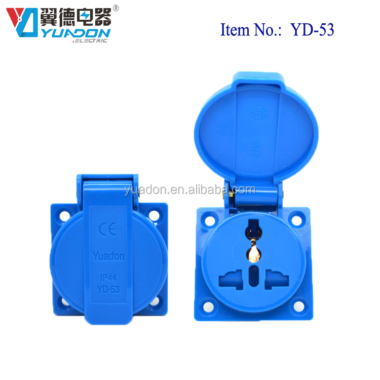 IP44 waterproof industrial socket universal power outlet with cover YD-53