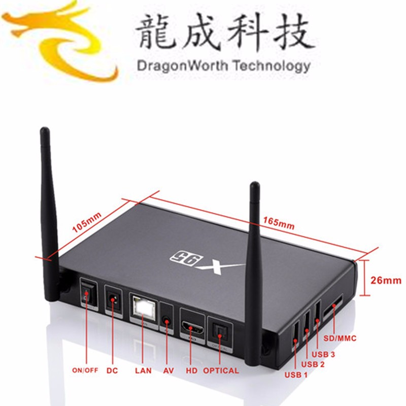 X95 Android TV Box Amlogic S905 Quad core Set top Box 1 G / 8 G Android 5.1 WIFI Media Player Smart TV