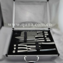 Aluminum packing case with window 10pcs stainless steel kitchen knife set