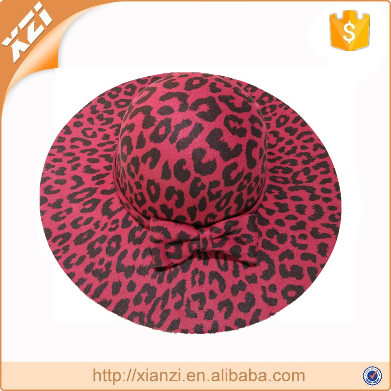 Wholesale winter hats leopard formal derby hat lady decoration caps