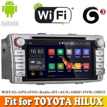 Pure Android 4.4 system car dvd radio gps navigation fit for TOYOTA HILUX 2012 WITH CHIPSET WIFI 3G INTERNET DVR OBD2 SUPPORT
