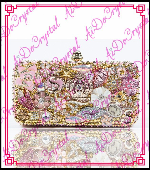 Aidocrystal handmade Luxurious multicolor lip&star&flower pattern novelty crystal evening clutch for lady