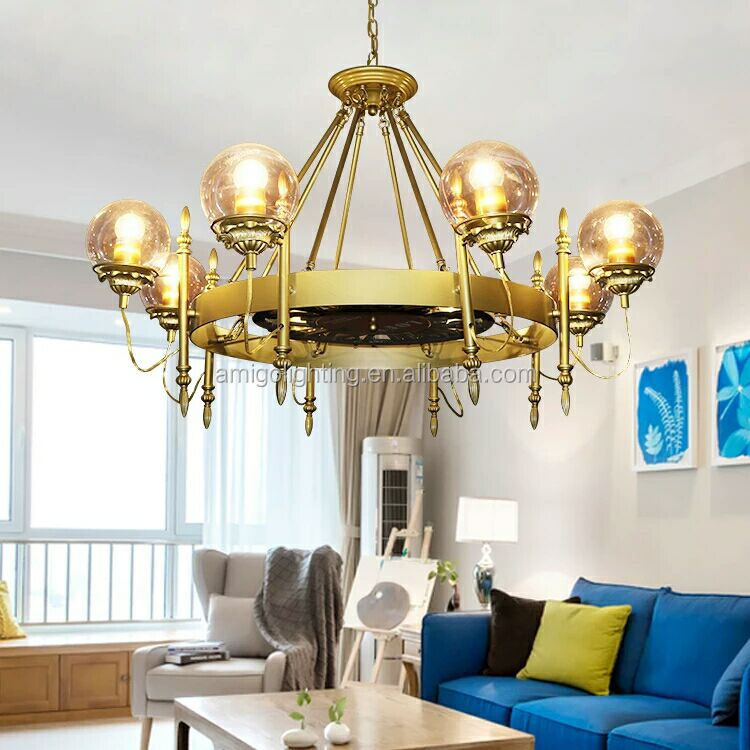 hot 8 heads round led glass ball pendant light GB06-8 gold