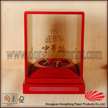Square shape wooden box with pvc window for wine and spirits