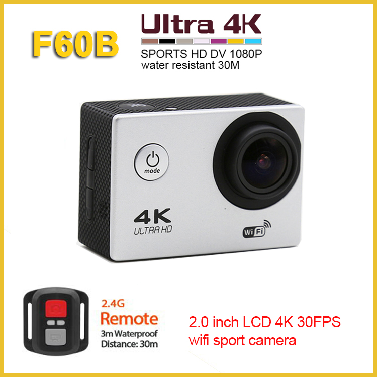 F60B ultra hd 4k action camera 2.0 inch LCD wifi action camera with remote control, 1080p hd sports cam