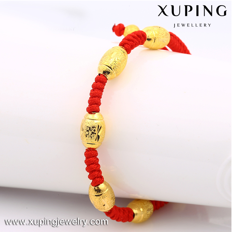 xuping jewelry low price wholesale handmade 24k gold plated adjustable red rope beads bracelets