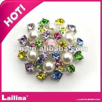 best quality colorful crystal pearl rhinestone buttons for wedding invitation