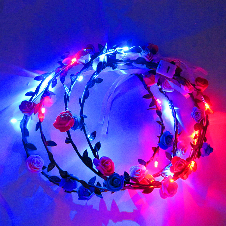 New Design Women Girls Hair Accessories Glow In Dark Led Lights Garland For Party Festival Tiara Led Flower Crown Headband