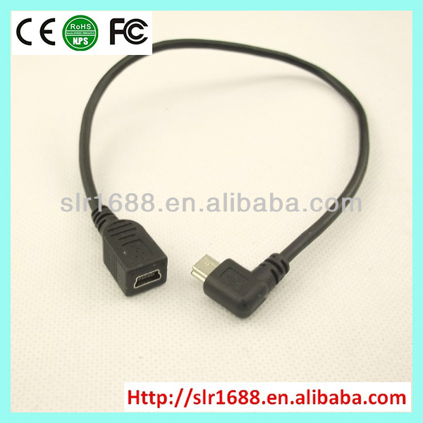 High quality right angled mini 5pin male to mini 5pin female mini cable usb