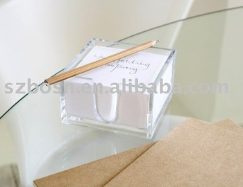 Acrylic Notepad Holder,Plexiglass Memo Pad Holder,Lucite Tabletop Organizer