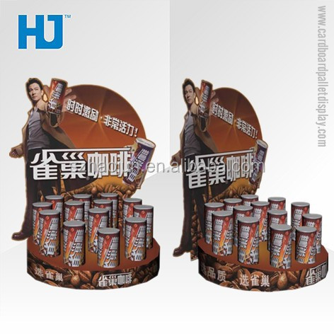 Round tiny paper display rack for coffee, best selling retail items carton counter packing box for nescafe/ nestle coffee