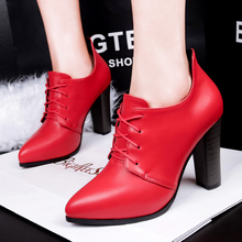 SAA4974 Stylish EUR style pointy toe lace up thick heel women ankle high boot shoes