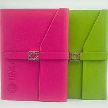 Three fold magnetic closure PU leather notebook cover with pen loop