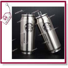 Custom logo 350ml 500ml stainless steel can shape coffee tumbler with flip-up straw insulated can cup
