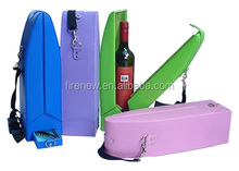 Single Faux Leather Wine Carrier, PU Leather Wine Box for one Bottle