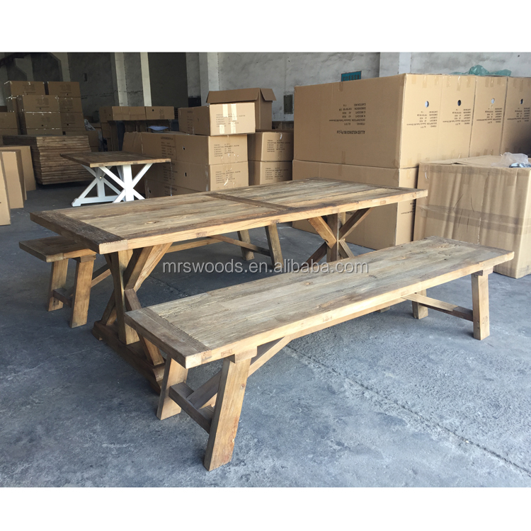 recycled elm dining table dining bench, french elm wood furniture